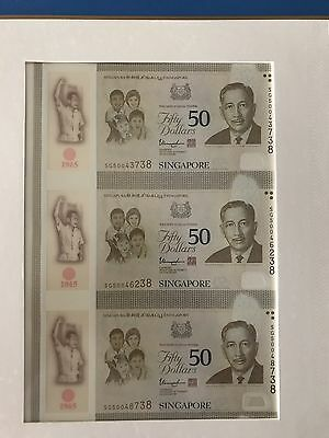 Singapore Uncut 2015 Commemorative 50*3 Dollars Unc SG5000xxxxx low number SG50