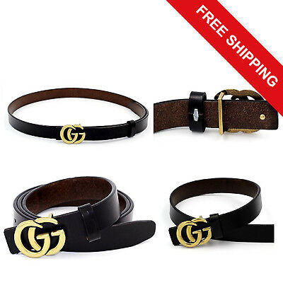 Women Genuine Leather Thin Belts Casual Jeans 0.9″ Wide Letter Buckle Black NEW