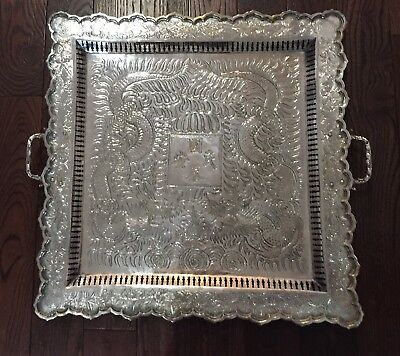 """Chinese Export Silver Tray- huge- 20"""" x 21"""", 2870 grams"""