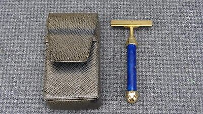 Vintage Alfred Dunhill Blue Handled Travel Razor in Case
