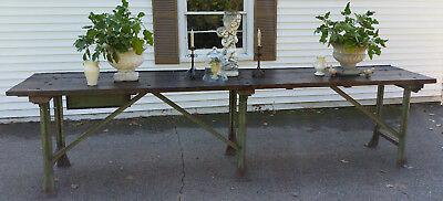Antique Industrial Table Bar Island Counter Kitchen Store Retail Potting Bench