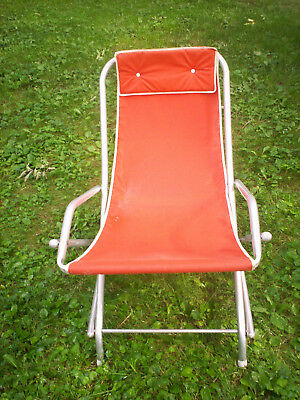 Vintage 60's Canvas Sling Chair w Aluminum no-rust frame (indoor or outdoor)