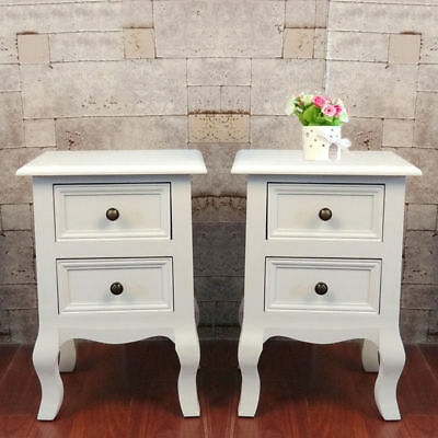 2X Bedside Table Wooden Nightstand Fully Assembled 2Drawer Cabinet Bedroom White
