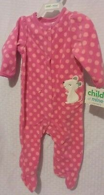 NEW CARTER'S Baby Girl Clothes size 3-6 month Soft Fleece MOUSE Pajama Sleeper