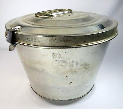 Steamed Pudding Mold Tinned Steel w/Lid Made in W. Germany Loop Handle 10 Cups