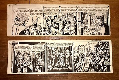 TWO Terry and the Pirates Original Daily Comic Strips by George Wunder 1947 1952