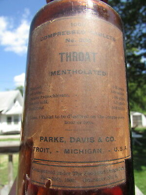 1900s Bulk 1000 TABLET COCAINE Bottle/Jar - PARKE DAVIS - Still CORKED But EMPTY
