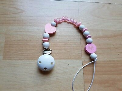 Baby Girl Pink Princess Wooden Clip-On Dummy Clip /pacifier/toy Holder Clip