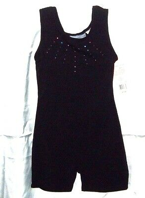 S(6/6X) Freestyle Danskin Girls Black Rhinestone Dance Gymnastic Biketard $17.99