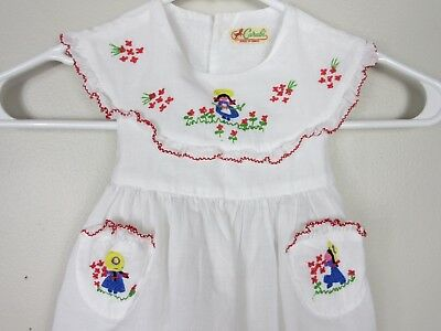 Rare Vintage Carabi French Embroidered Baby Girls 50's Dress Excellent Condition