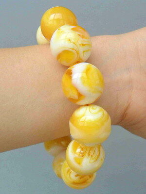 Chinese Handmade Decorative Amber Carved Texture Natural Bead Exquisite Bracelet