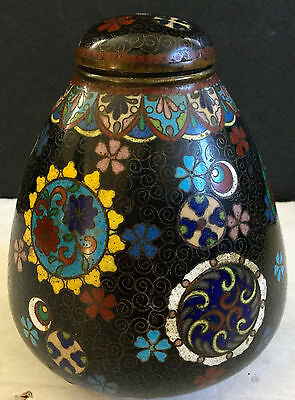19thc  Antique Cloisonne Jar with Lid Butterfly