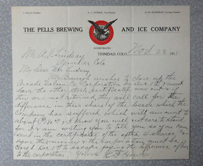 Pells Brewing Co. - Pre-Pro Trinidad Beer Letterhead - 1911