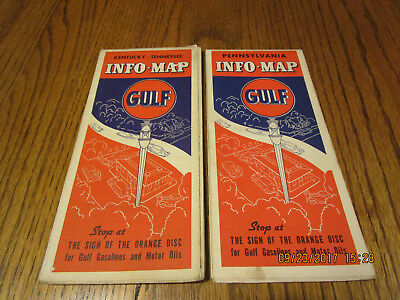 1937 Gulf Oil Road Maps Kentucky-Tennessee & Pennsylvania.