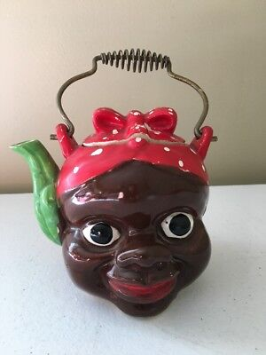 Vintage Black Americana Mammy Tea Pot W/handle & lid