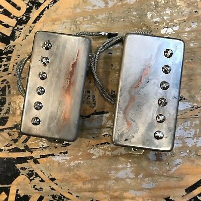 Sonicmonkey 62 Vintage PAF Humbucker Double Black Heavy Relic Nickel covers