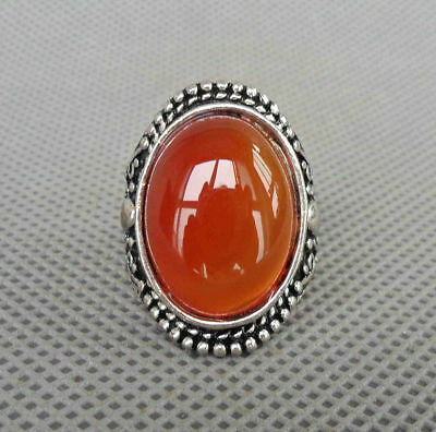 Chinese Handmade Decorative Miao Silver Inlay Agate Carved Flower Beautiful Ring