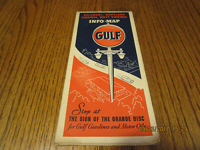 1938 Gulf Oil Road Map Delaware, Maryland,Virginia,West Virginia.