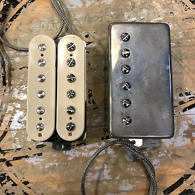 Sonicmonkey 59 Vintage PAF Humbucker Double White + Black Aged Nickel Cover