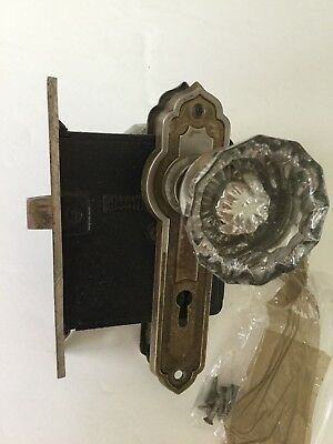 Vintage Glass Door Knob Set With Back Plates & Latch Assembly