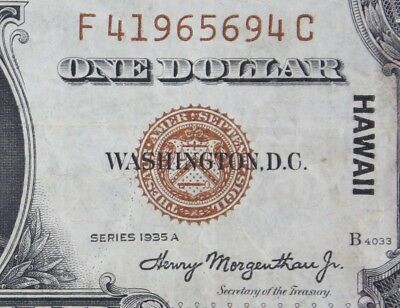 $1 HAWAII 1935A brown seal silver certificate F41965694C one dollar FREE SHIP.