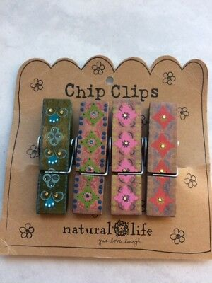 NATURAL LIFE- Hand Painted Chip Clip Set of 4 NEW