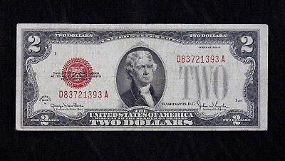 $2 1928G large red seal US Note D83721393A two dollar series G, FREE SHIPPING
