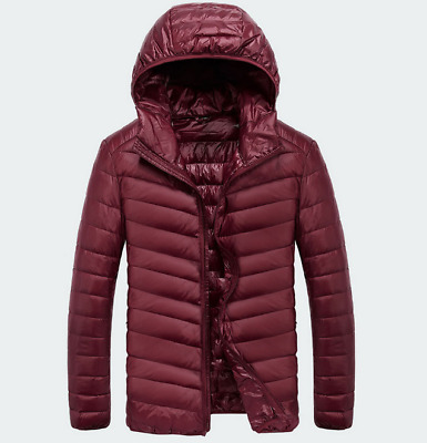 NEW Men's Fashion Duck Down Winter Jacket Hooded Padded Coat Red