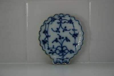 vtg Blue and White Shell Butter Pat Dish with Gold Trim