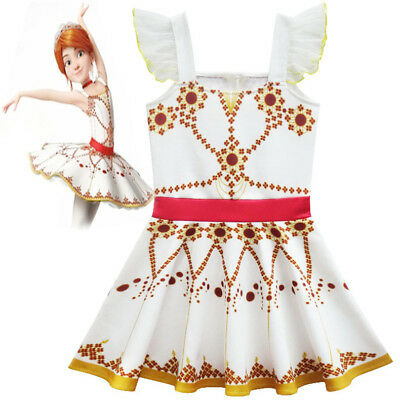 US STOCK  Kids Girls Movie Ballerina Leap! Felicie Dress Costume Tutu Skirt  O49