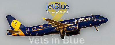"JetBlue Airways ""Vets in Blue"" Airbus A320-232 Photo Magnet (PMT1653)"