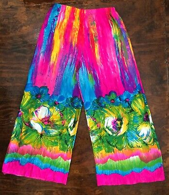 VTG 60-70's NEON Pink FLORAL PSYCHEDELIC Wide Leg PALAZZO PANT Disco MOD M/L