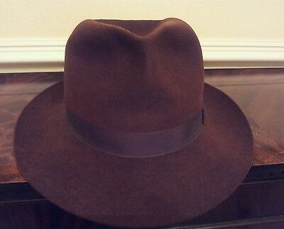 Charming Vintage Fur Felt Fedora Trilby Hat by Christys Brown Size 55cm or 6 3/4