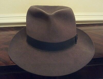 Charming Vintage Fur Felt Fedora Trilby Hat by Christys in Grey Size 54.5cm