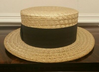 Rare Vintage 1920's Straw Boater Hat by Dunn and Co Size UK 7 1/4 EU 59cm