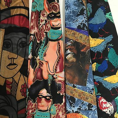 9 pc LOT Men's ABSTRACT ART Deco WORK Silk Neck Ties ARTIST PAINTINGS Neckties