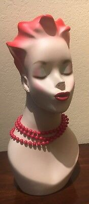 Vintage Store Jewelry Display Head in Excellent Condition