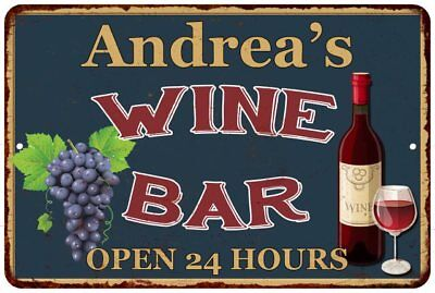 Andrea's Green Wine Bar Open 24hrs Chic Rustic Sign Home Décor Gift 81203559