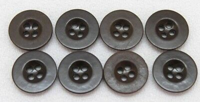 WWII US dark chocolate brown plastic buttons 11/16in 17.5mm 28L Lot of 8 B8402