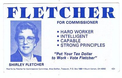 1985 Shirley Fletcher Knox County Commissioner Ohio Political Campaign Brochure