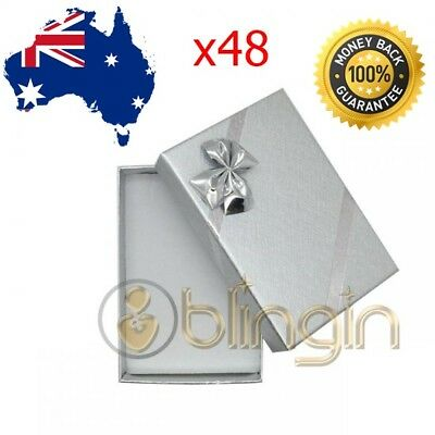 X48 Solid Premium Silver Set gift boxes, with bow 54X80X22MM. AU SELLER!!