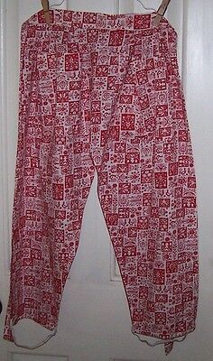 Vintage Home Made Novelty Half Apron-Reversible-Pant Form-Pockets-Cotton