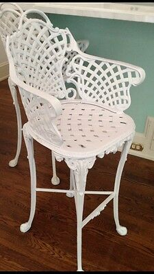 Vintage Victorian White Ornate Wrought  Iron Chair Indoor Outdoor Barstool
