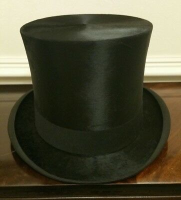 Near Mint Rare Lincoln Bennett Vintage Silk Black Top Hat Size UK 7 1/4, EU 59cm