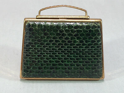 Vintage Pygmalion Forest Green Snake Skin Purse Shaped Compact