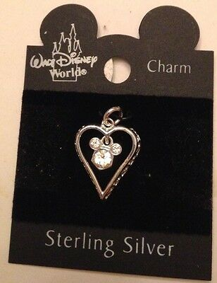 WDW Disney Sterling Silver Mickey Mouse Crystal Icon in Open Heart Charm NOC