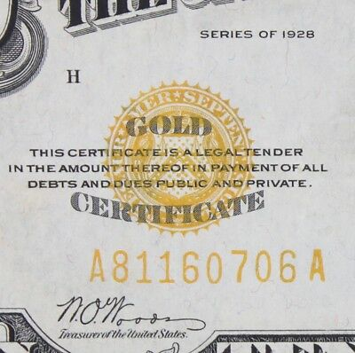 $10 1928 gold certificate A81160706A Key single year issue FREE SHIPPING