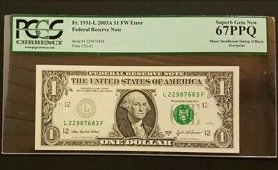 (ERROR) PCGS 67PPQ Superb Gem New 2003A $1 Note with Insufficient Printing