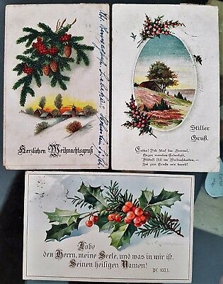 Lot of 3 Germany Antique Old Colour Flower Christmas Greeting WWI Era Postcards