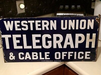 Vintage Western Union Telegraph Flange Sign Double Sided Porcelain